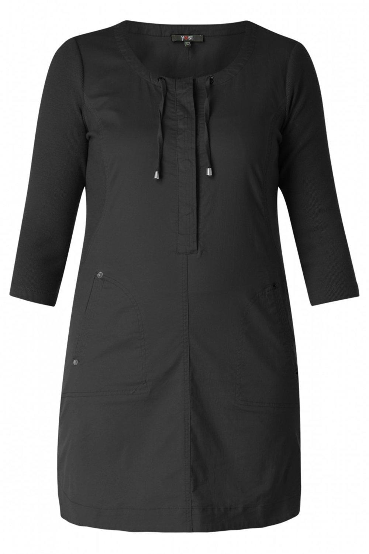 Yesta jurk touwtje bij hals black/black
