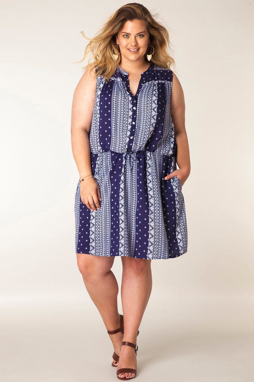 Jurk print Yesta navy/multi-colour