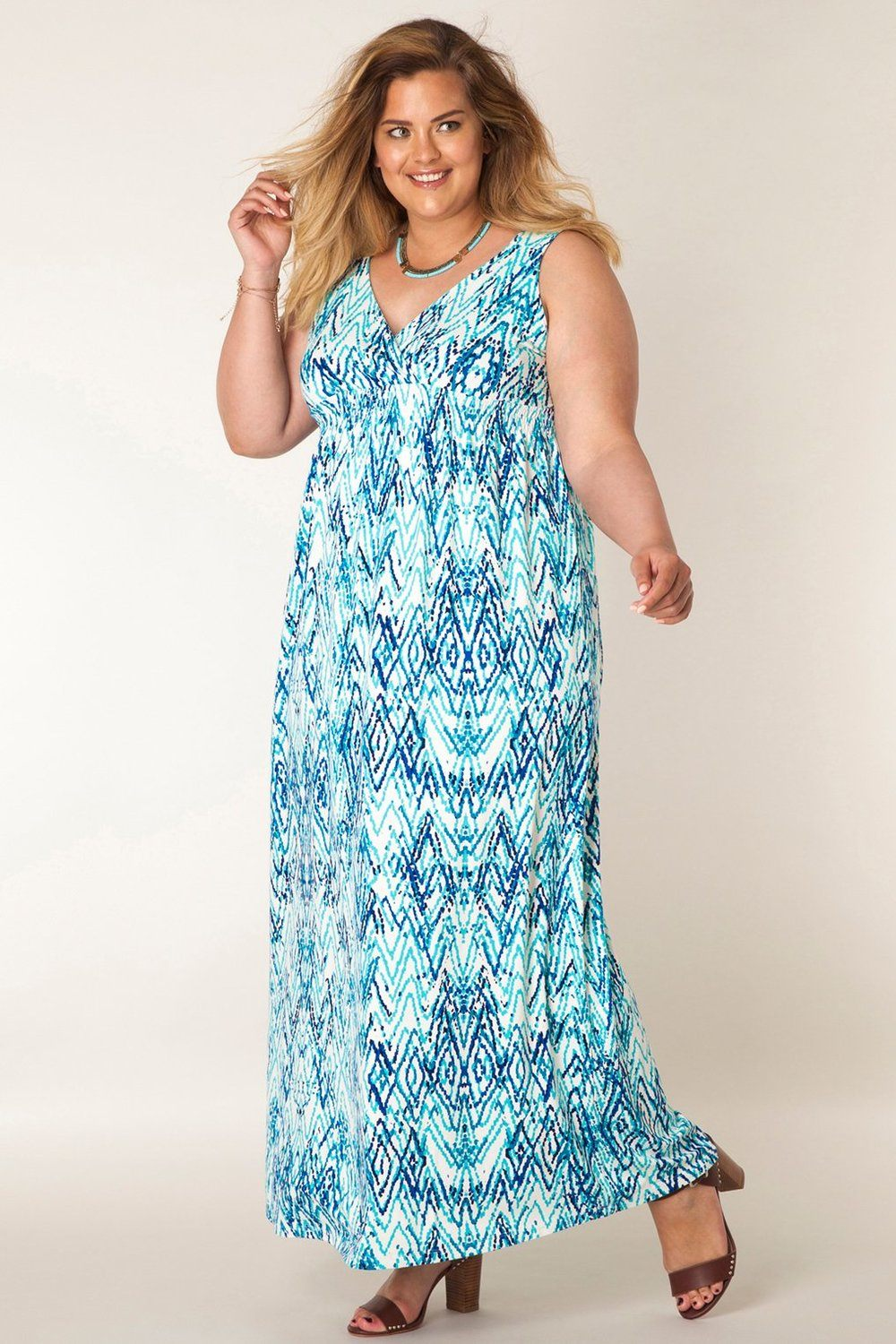 Jurk Maxi blauw print Yesta blue/multi-colour