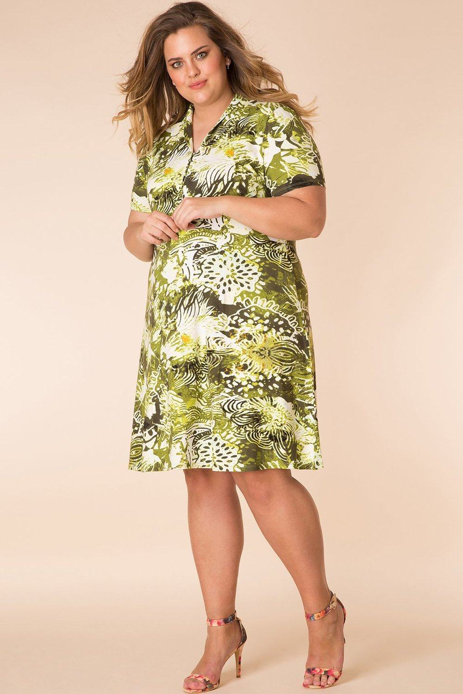 Yesta jurk print met v-hals sand/linden/multi-colour