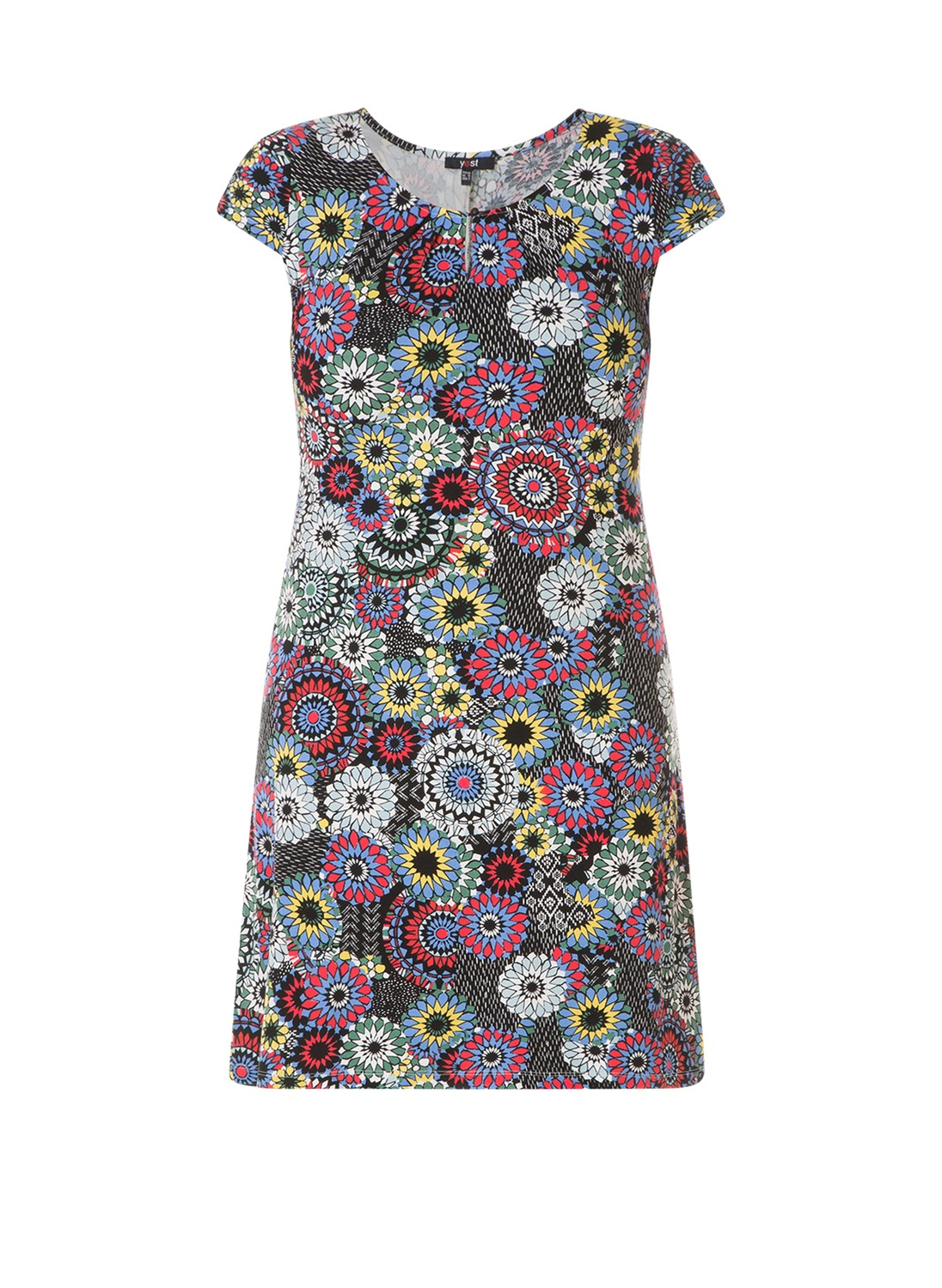 Yesta jurk print A-lijn raspberry/multi-colour